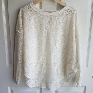 Free People Ivory Not Cold In This Top Size XS